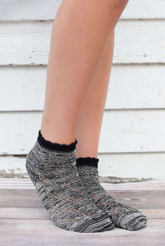 Black Knit Anklet Socks