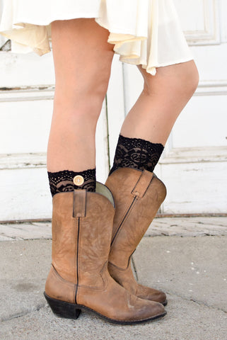 Black One Button Lace Boot Cuffs