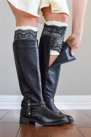 Ivory & Black Lace Layered Boot Cuffs