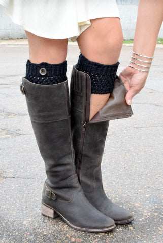 Black Crochet One Button Boot Cuffs