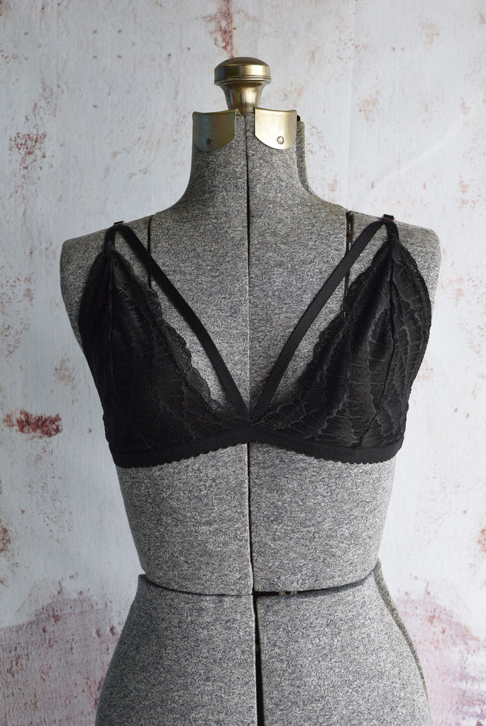 Strappy Black Front Lace Bralette