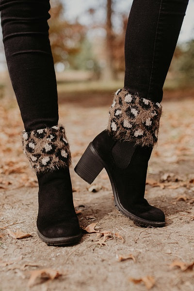 Boot Cuffs with Silky Leopard Print Topper  ((SALE))