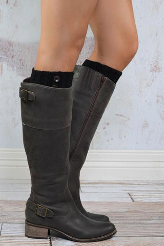 Black Knit Boot Sock with Buttons