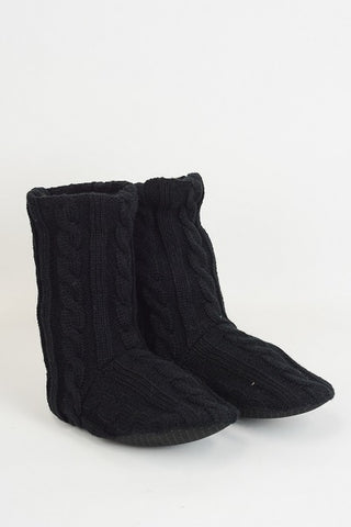 Black Cable Knit Lounge Socks (NEW)