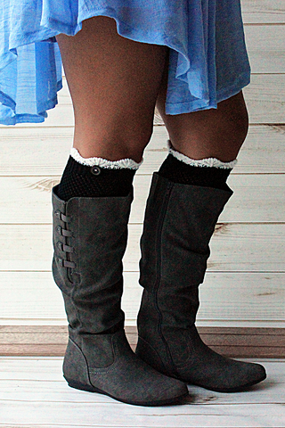 Crocheted Black Boot Cuff with Cream Top