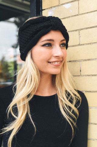 Black Rolled Bow Knit Winter Headband
