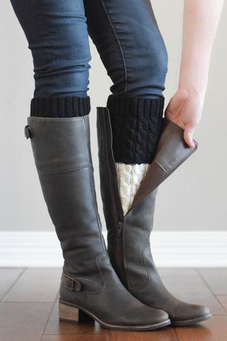 Black and Ivory Reversible Knitted Boot Cuffs