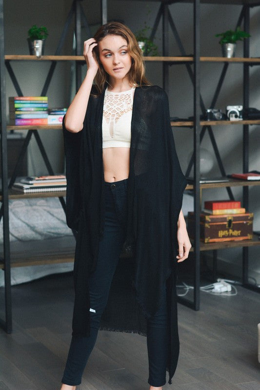 Open Grid Frayed Trim Kimono Wrap (*NEW*)