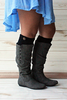 Black Twist Button Boot Cuffs