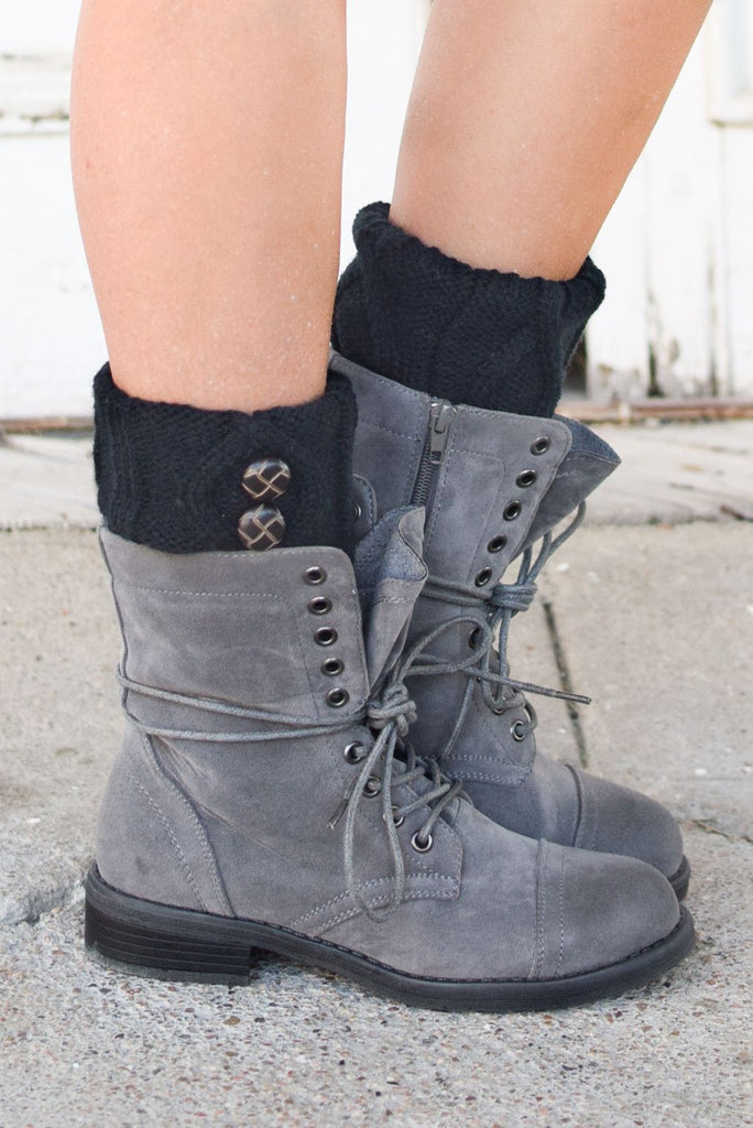 Black Two Button Tortoise Shell Boot Cuffs