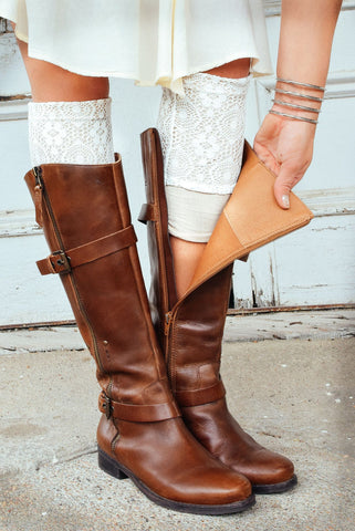 Cream Two-Layer Lace Boot Cuffs