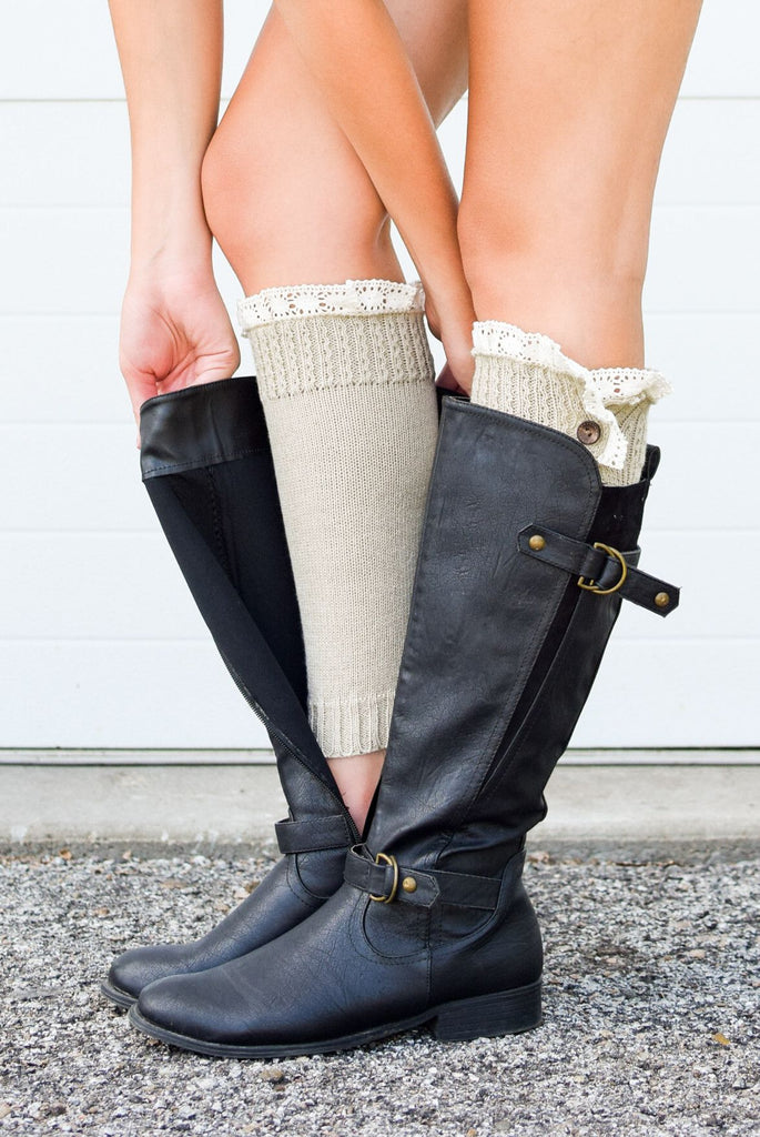 Oatmeal Lace Button Down Boot Cuffs