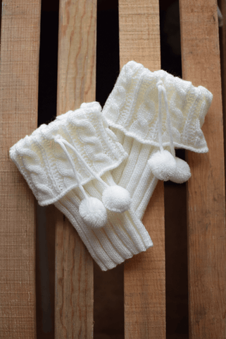 Pikes Peak Cream Boot Cuffs with Pom Poms