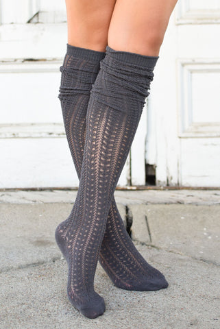 Charcoal Knit Thigh High Boot Socks (*NEW*)