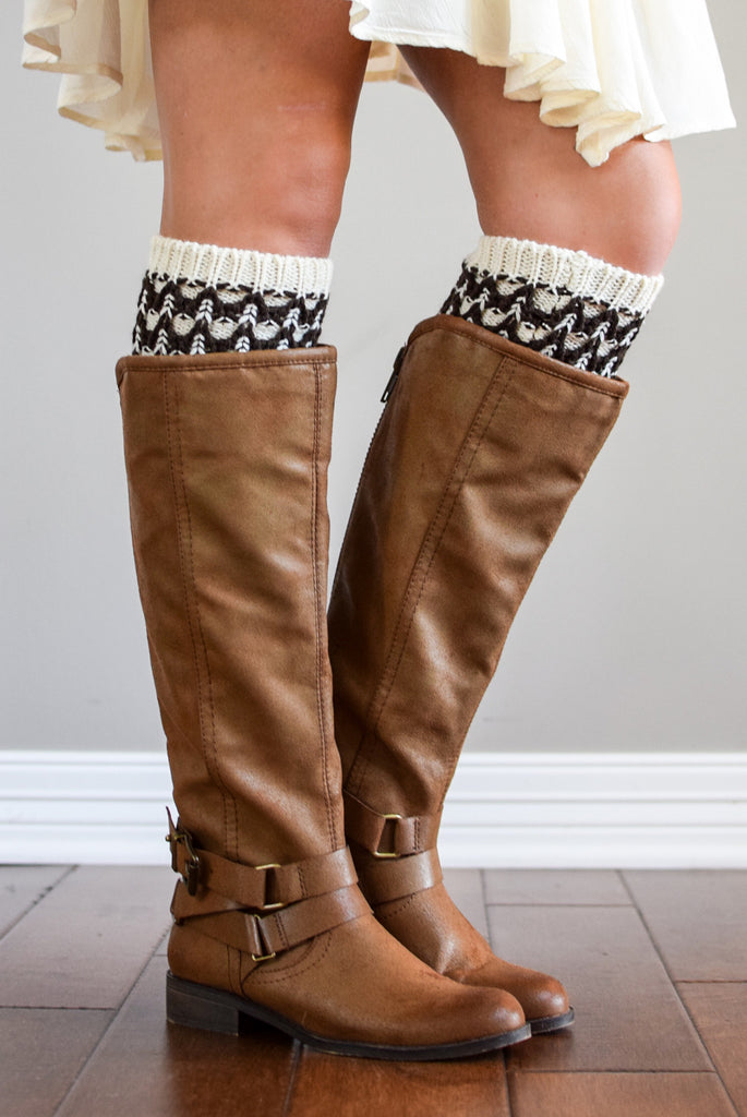 Boulder Brown & Ivory Knit Boot Cuffs *New*