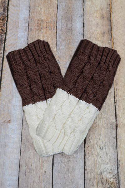 Coffee and Ivory Reversible Knitted Boot Cuffs
