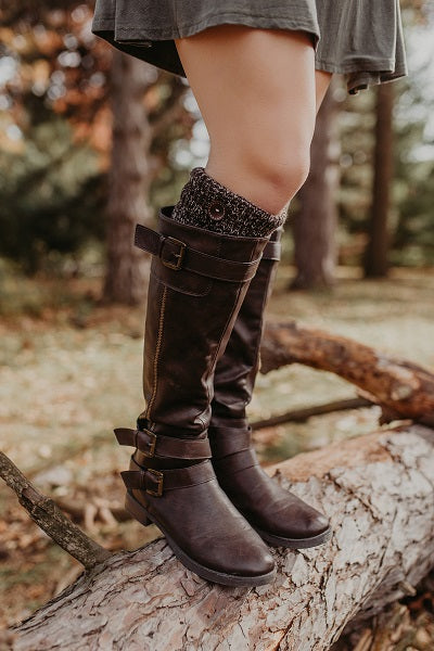 Alpine Peppered Brown Button Boot Cuffs