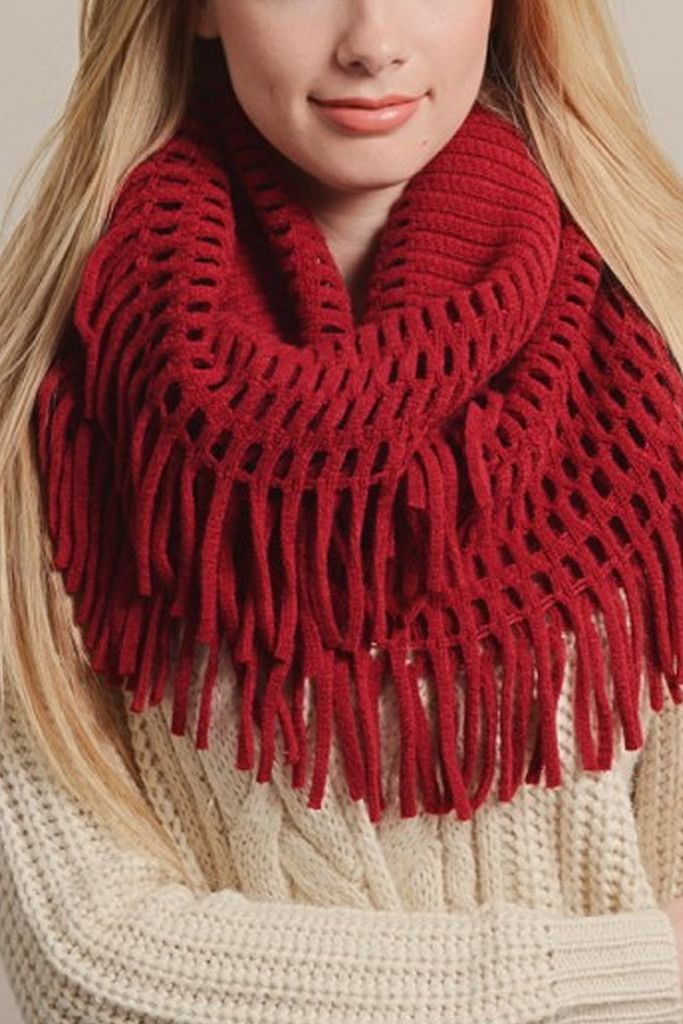 Red Chenille Tassel Infinity Scarf