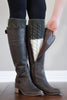 Charcoal and Ivory Reversible Knitted Boot Cuffs