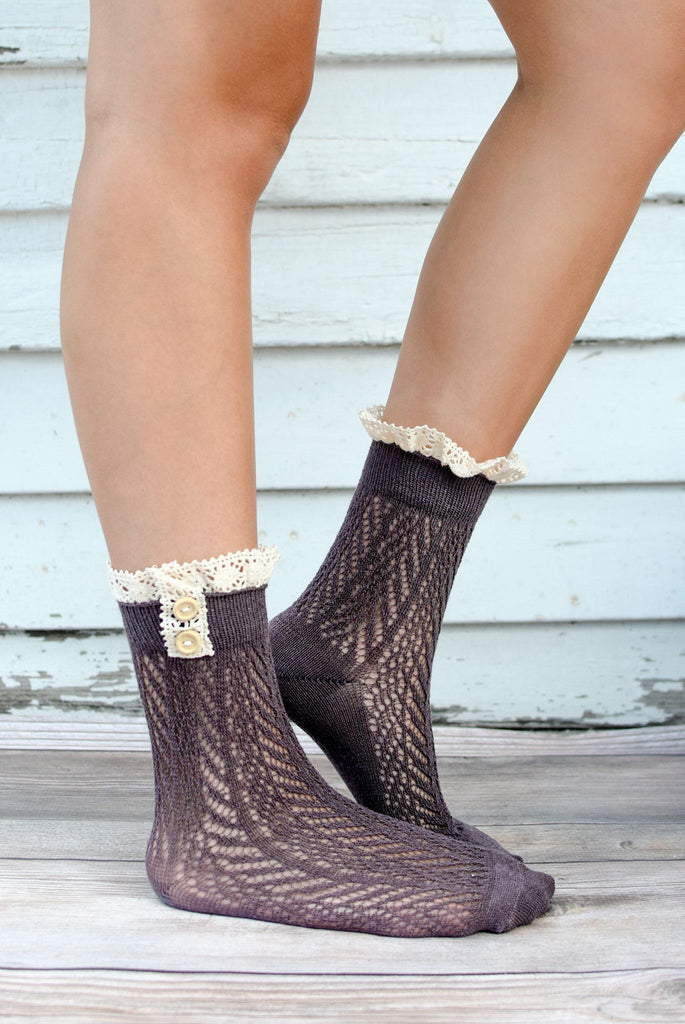 Charcoal Crocheted Lace Top Ankle Socks