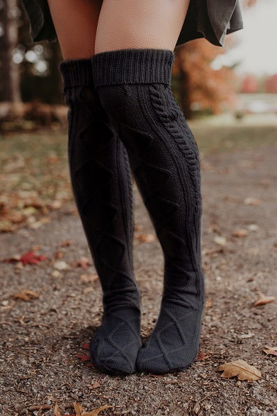 b2e4dc06882cb Charcoal Thick Cable Knit Boot Socks - Fast, Free Shipping! –  bootcuffsocks.com