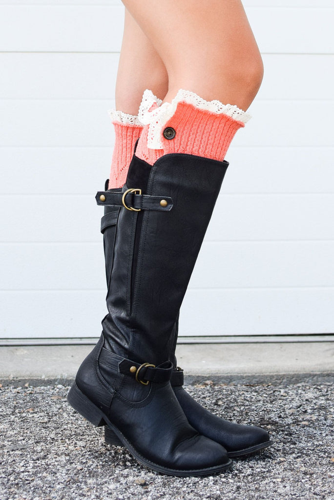Coral Button Down Leg Warmers with Lace Trim