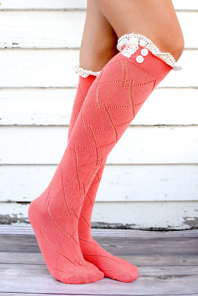 Coral Thigh High Boot Socks with Lace Trim