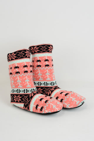 Coral Fair Isle Cable Knit Lounge Socks (NEW)