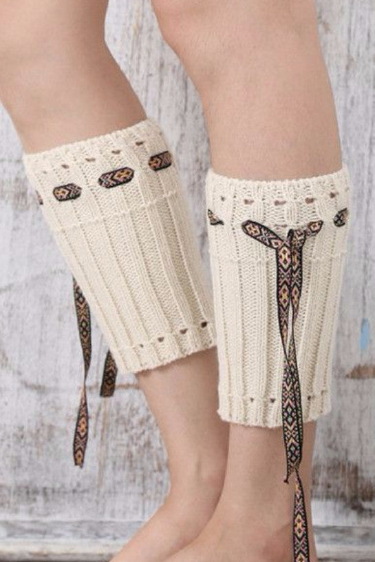 Coachella Cream Boot Cuffs with Boho Tie