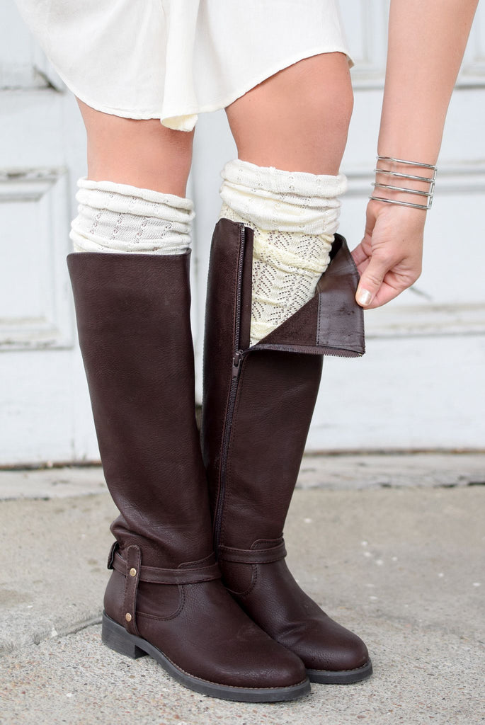 Cream & Ivory Color Block Knee-High Boot Socks (*NEW*)
