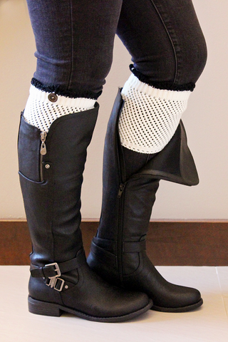 Crocheted Cream Boot Cuff with Black Top
