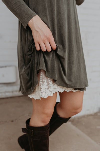 Plus Size Cream Lace Dress Extender – bootcuffsocks.com