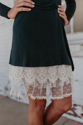 Cream Tiered Lace Dress Extender