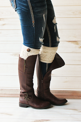 Cream Twist Button Boot Cuffs