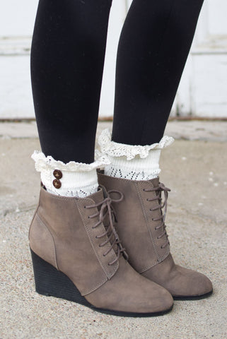 Ivory Boot Cuffs with Crochet Top