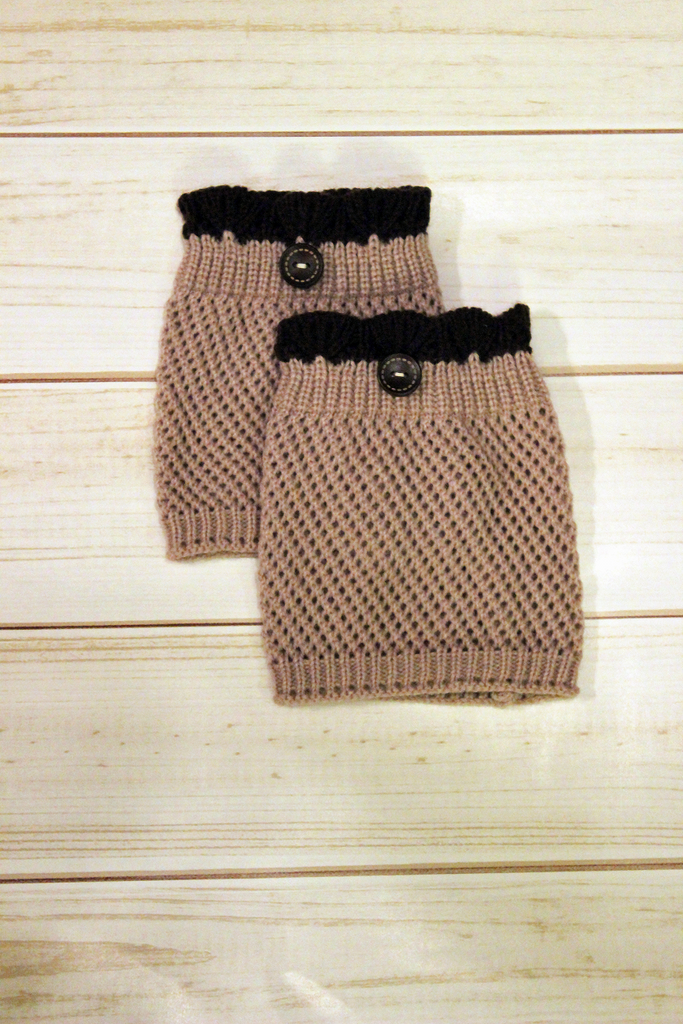 Crocheted Latte Boot Cuff with Brown Top