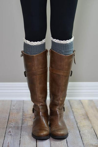 Dark Grey Knitted Boot Cuffs With Lace Trim