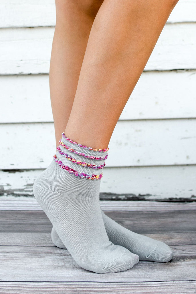 Grey Multicolored Accents Ankle Socks