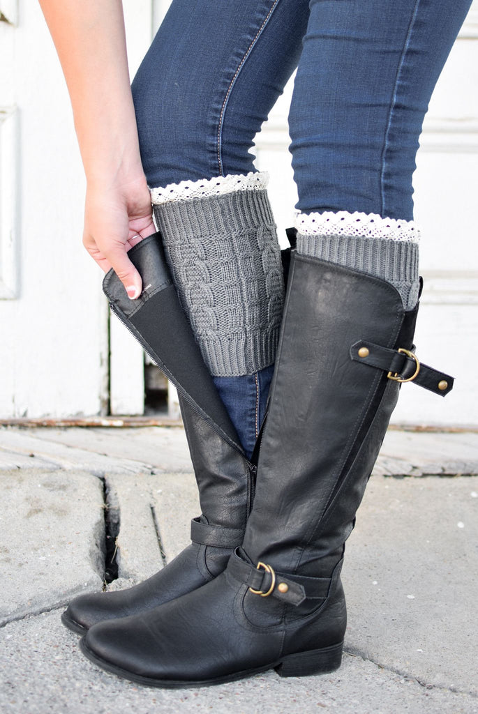 Grey Knitted Boot Cuffs With Lace Trim