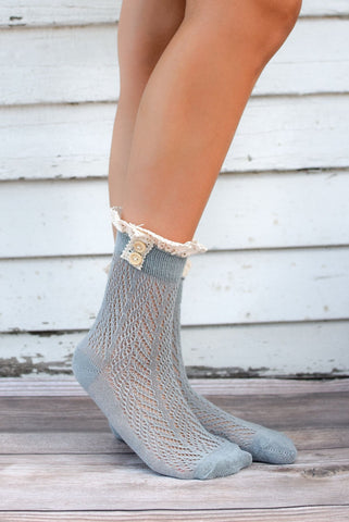 Grey Crocheted Lace Top Ankle Socks