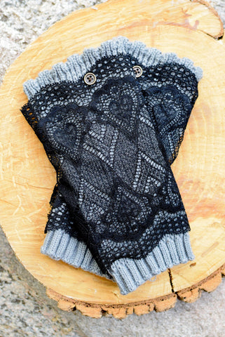 Slate Grey & Black Lace Layered Boot Cuffs