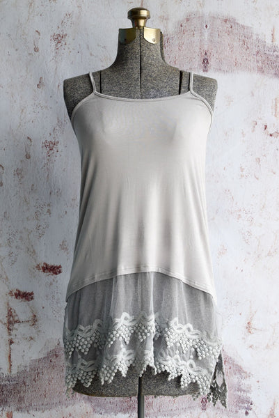 Plus Size Cool Grey Pointed Lace Top Extender
