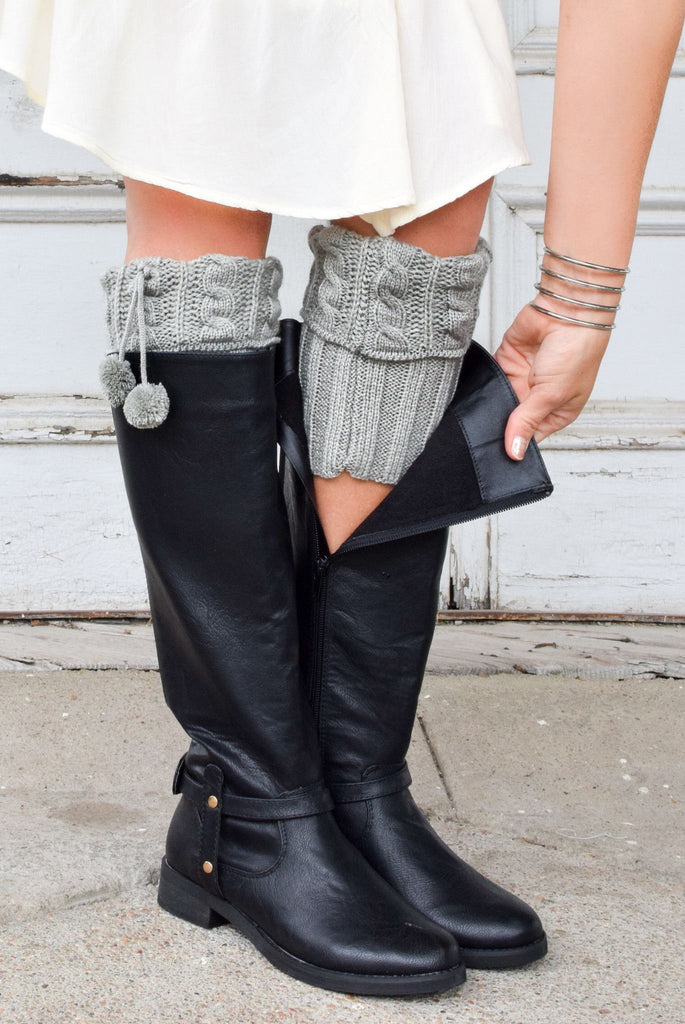Pikes Peak Light Grey Boot Cuffs with Pom Poms