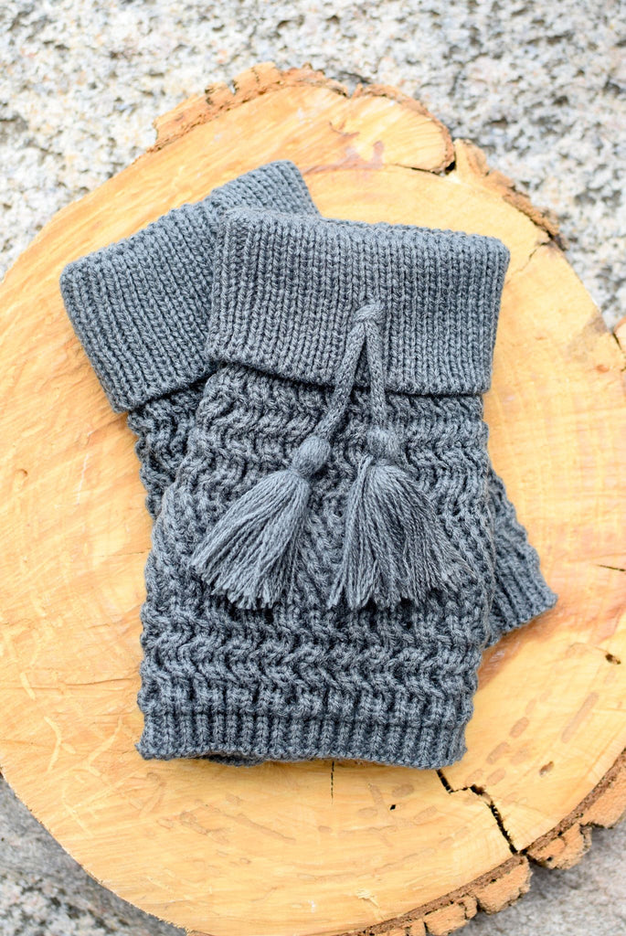 Grey Telluride Tassel Knit Boot Cuffs *New*