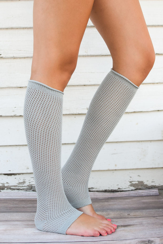 Grey Textured Leg Warmers