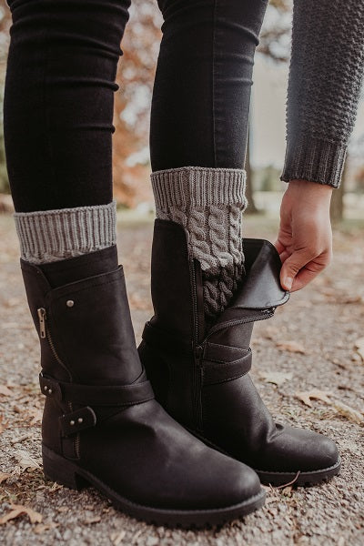 Charcoal and Grey Reversible Knitted Boot Cuffs