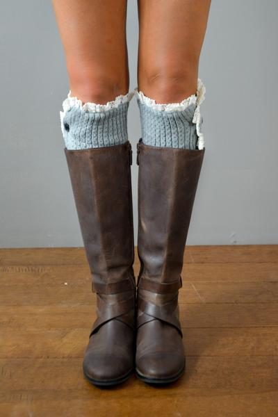 Light Grey Button Down Leg Warmers with Lace Trim