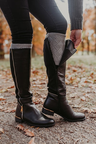 Slate Grey Metallic Diamond Pattern Boot Cuffs