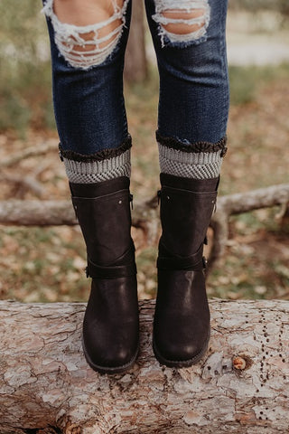 Crocheted Light Grey Boot Cuff with Charcoal Top
