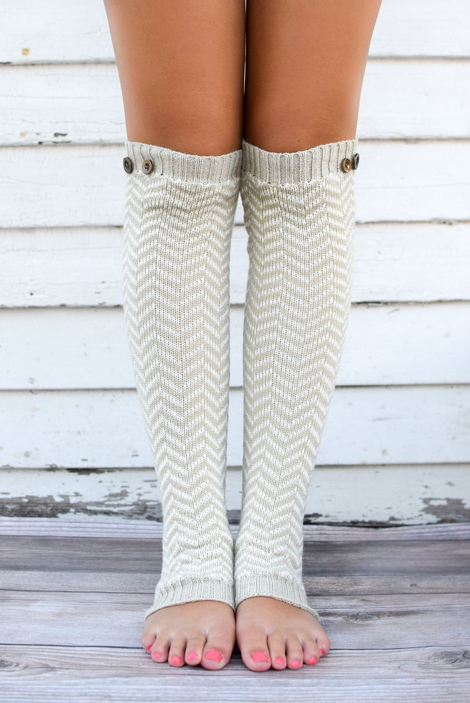 Khaki and White Breckenridge Button Legwarmers
